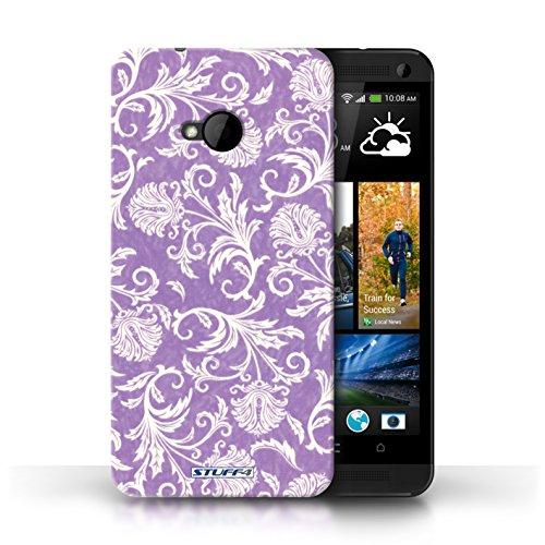 Etui / Coque pour HTC One/1 M7 / Fond Violet conception / Collection de Fleurs