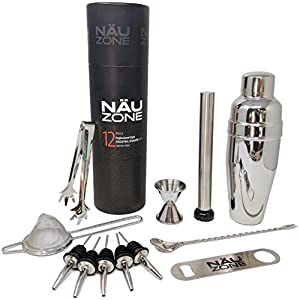 12 Piece Professional Cocktail Shaker Set: Premium Restaurant Quality Bartender Kit With Large 30 Oz. Drink Shaker and High End Bartending Tools for Expert Drink Mixing | Deluxe Tube Packaging