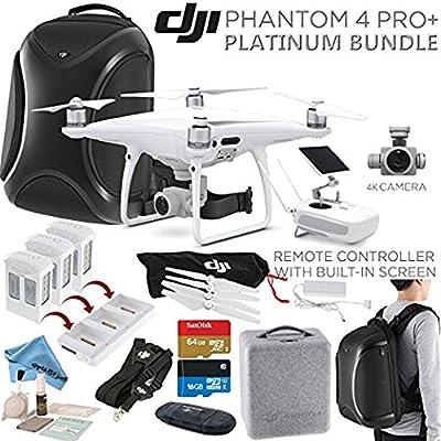 DJI Phantom 4 PRO+ (Pro Plus) Quadcopter, DJI CP.PT.000549, w/ Platinum Bundle: Remote w/ Built in Monitor, High Capacity Intelligent Flight Battery (5870mAh), Multifunctional Backpack and more