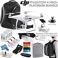 DJI Phantom 4 PRO+ (Pro Plus) Quadcopter, DJI CP.PT.000549, w/ Platinum Bundle: Remote w/ Built in Monitor, High Capacity Intelligent Flight Battery (5870mAh), Multifunctional Backpack and more