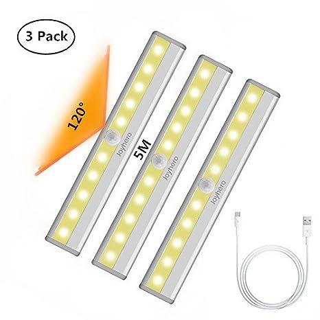 LED Lámpara de Armario 3 packs, USB Recargable, Sensor de Movimiento con Banda Magnética