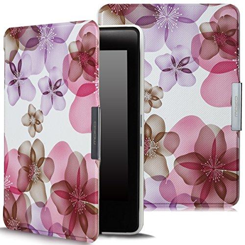 MoKo Kindle Paperwhite Hülle - Ultra Leightweight Slim Schutzhülle Smart Cover mit Auto Sleep / Wake Funktion für Alle Kindle Paperwhite (2016 / 2015 / 2013 Modelle mit 6 Zoll Display), Blumen-Violett