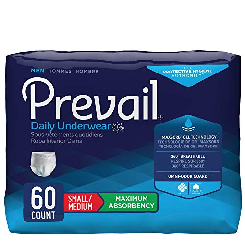 Prevail Maximum Absorbency Incontinence Underwear for Men, Small/Medium, 60 Count ()