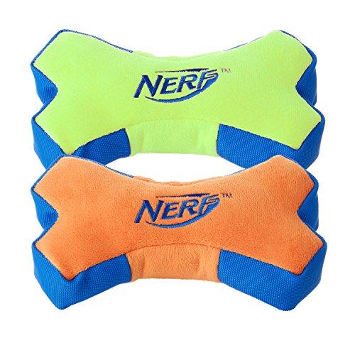 Colors Hyper Assortment (Nerf Dog (2-Pack) UltraPlush Trackshot Bone Dog Toy, Orange/Blue & Blue/Green, Medium)