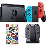 Nintendo Switch 32 GB Console with Neon Blue and Red Joy-Con (HACSKABAA) with Super Mario Party for Switch & Nintendo Switch Joy-Con Charging Dock