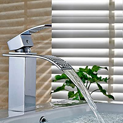 ROVATE Bathroom Sink Faucet , Brass single Handle Single Hole Waterfall Mixe Faucet/Tap Deck Mounted on Sink , Polished Chrome…