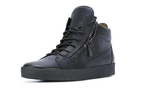 ZXD Vibra - Deportivos Negros Suela Plana de Goma Cordones y Cremallera Piel Síntetico Mujeres Hombres Talla 50 / 30cm: Amazon.es: Zapatos y complementos