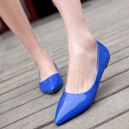 Taoffen Women Casual Shoes Flat Fashion Lady Sexy Candy Colors Scarpe A Punta Blu
