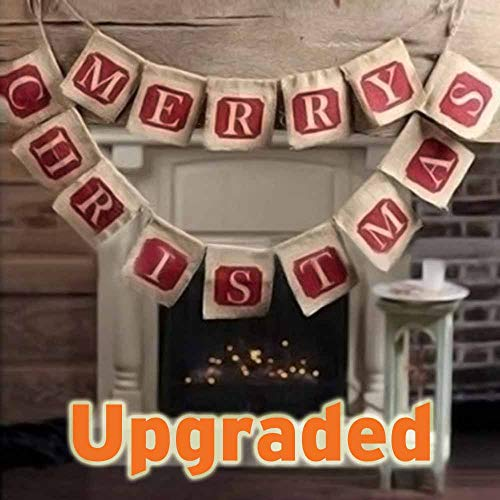 【Quality Upgraded】Christmas Banners, Sooez Merry Christmas Jute Burlap Banners Christmas Rustic Decor for Christmas Decorations Xmas Party Tree Fireplace Home Holiday Decoration, Country Christmas Decor (Christmaas Merry)