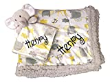 Plush Custom Embroidery Name Baby Blanket (30 x 40 inch) with Lovey Blanket - Excellent Gift Idea (Custom Embroidery Grey Elephant)
