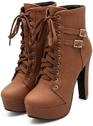 Susanny Women Autumn Round Toe Lace Up Ankle Buckle Chunky High Heel Platform Knight Martin Boots
