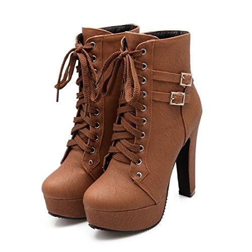 Susanny Women Autumn Round Toe Lace Up Ankle Buckle Chunky High Heel Platform Knight Brown2 Martin Boots 7.5 B (M) US