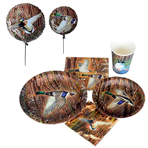 Havercamp Duck Pond Party Bundle | Dinner & Dessert Plates, Luncheon & Beverage Napkins, Cups, Balloons | Great for Duck Enthusiasts, Wildlife Hunters, Outdoor Themed Events, Country Style Party