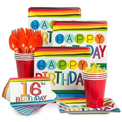 Costume SuperCenter Rainbow 16th Birthday Standard Tableware Kit (Serves 8) for $<!--$14.18-->