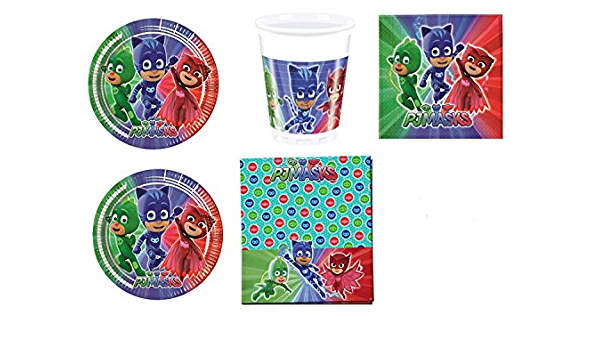 PJ Masks - Héroes en pijamas - Set decoración para fiestas. Kit nº 3 Cdc (40 platos, 40 vasos, 40 servilletas)