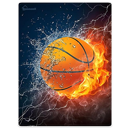 CAQ Custom Basketball Between Fire and Water Design Blanket Fleece Blanket 58 inches x 80 inches Soft Travel Blanket