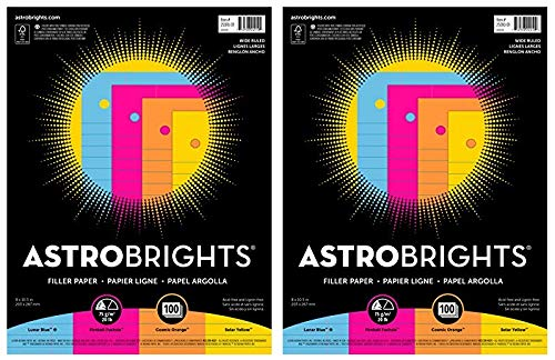Astrobrights Filler Paper, 8 x 10-1/2 Inches, 20 lb, Assorted Colors, 100 Sheets (Тwo Рack) by Astrobrights