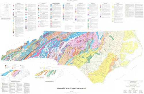 Vintage Map | 1985 Geologic Map of North Carolina | Historic Poster Art Reproduction | 66in x 44in ()