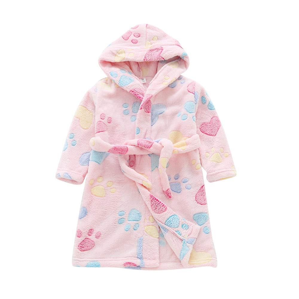 LBZE Toddlers/Kids Hooded Robe Soft Fleece Bathrobe Children Pajamas Baby Plush Robe