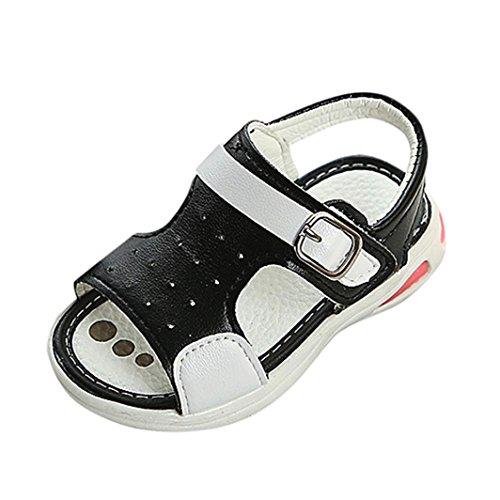 Fheaven Boys Soft Soled Beach Sandals Kids Antislip Luminous Lighting LED Shoes Casual Black FQZH5lUb