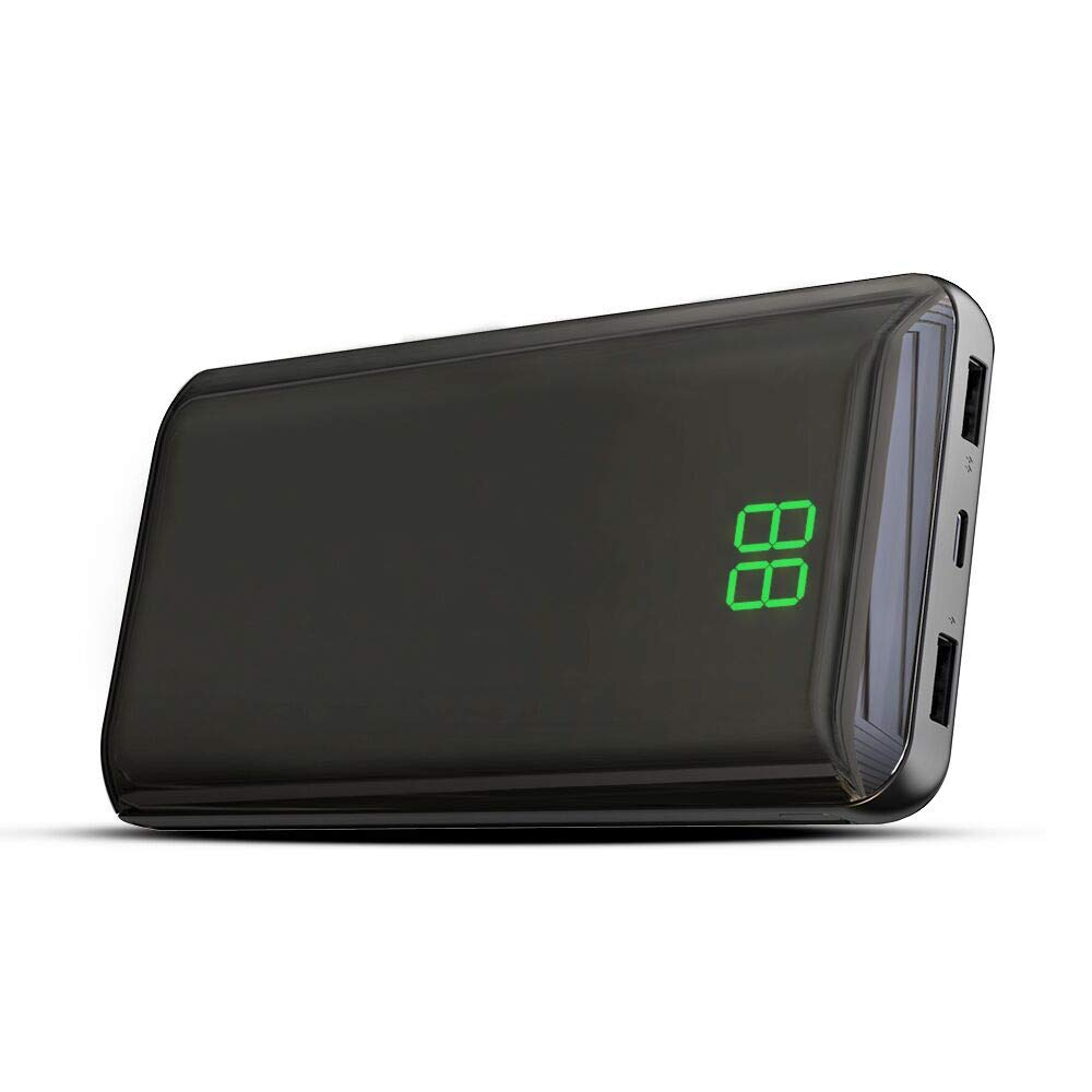 X-DRAGON Power Bank 24000mAh Portable Charger Dual 2A Input(Micro USB & Type-c), Dual 2.4A Output External Battery Charger with Mirror Surface,