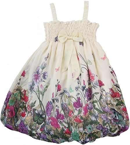 Wenchoice Girl'S Ivory Floral Chiffon Baby Doll Dress M(3T-4T)