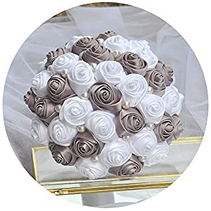 Azaleas Wedding Bouquet Crystal Pearl Silk Roses Bridal Bridesmaid Wedding Hand Bouquet Artificial Fake Flowers 62