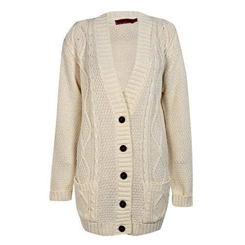 Womens Cable Knit Chunky Ladies Grandad Boyfriend Pocket Button up Top Cardigan-Cream-2XL