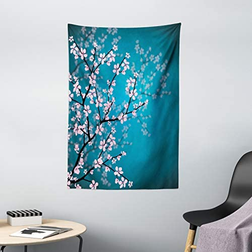 Ambesonne Teal Tapestry, Pink Blossoms Art Leaves and Plants Ombre Spring Japanese Sakura Flowers in Garden Park, Wall Hanging for Bedroom Living Room Dorm Decor, 40 X 60 , Blue Pink