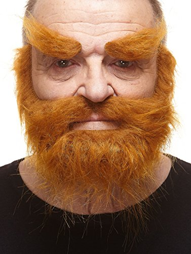 (Mustaches Self Adhesive, Novelty, Realistic, Traper Fake Beard Fake Mustache and Fake Eyebrows, Ginger)