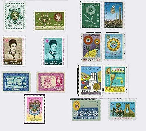 Persian Boy Scouts Girl Scouts 15 Stamps Issued 1956-78, Shah M.R. Pahlavi and Farah Pahlavi in Scout Uniforms
