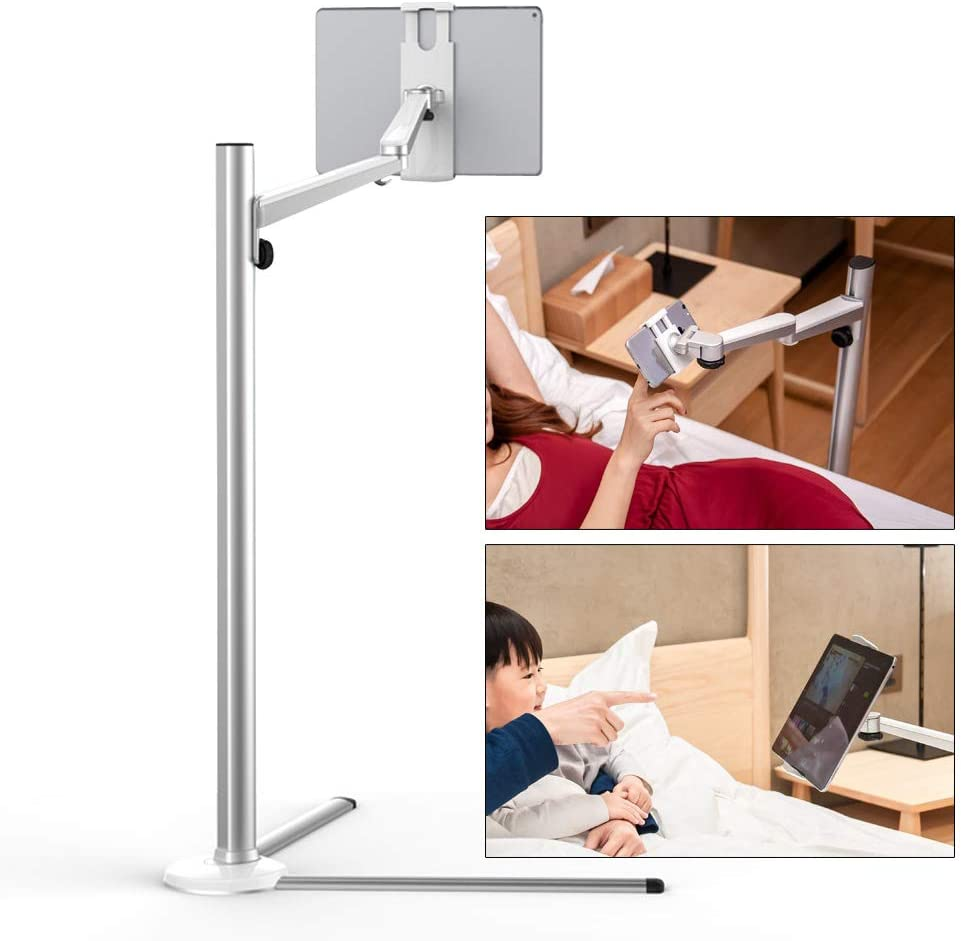Tablet Floor Stand Silver US Shipping 3 in 1 Universal Cell Phone Adjustable Floor Stand Tablet Holder for Laptop iPad Pro and MS Surface with Arm