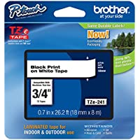Genuine Brother 3/4' (18mm) Black on White TZe P-touch Tape for Brother PT-1830, PT1830 Label Maker with FREE TZe Tape Guide Included