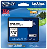"""Genuine Brother 3/4"""" (18mm) Black on White TZe P-Touch Tape for Brother PT-E300, PTE300 Label Maker with Free TZe Tape Guide Included"""