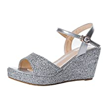 Women's Cute Glitter Open Toe Ankle Strap Sandals Platform Wedge Heels