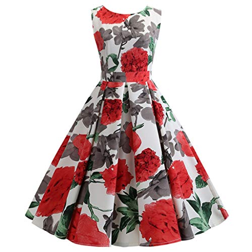 Dearprias Women's Vintage Dress,Fashion Women Sexy O-Neck Floral Print Sleeveless Slim Vintage Dress White