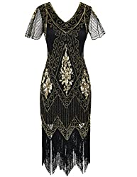 Gold 1920s Sequin Art Dress with Sleeve