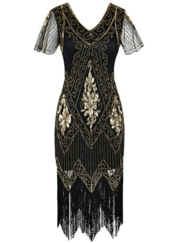 PrettyGuide Women's Flapper Dress Sequin Fringed Cocktail Gatsby Dress with Sleeve M Gold]()
