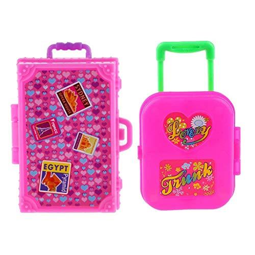 - iraintech 2pcs Cute Pink Miniature Plastic Travel Case Box for Barbie Doll Decoration Accessory