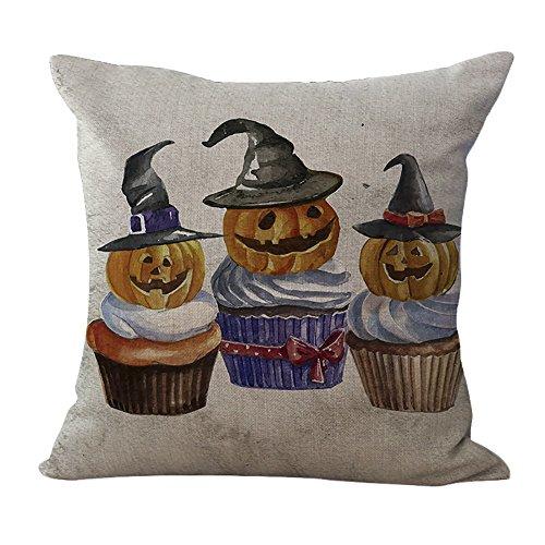 ChezMax Cotton Linen Halloween Pumpkin Lamp Pattern Pillow Square Decor Sofa Cushion Decorative Throw Pillow 18