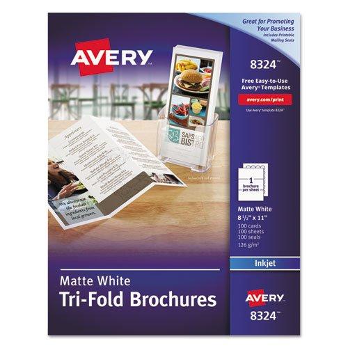 Tri-Fold Brochures for Inkjet Printers, Matte, 8-1/2 x 11, White, 100 Sheets/Box, Sold as 100 Each