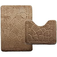 Nonslip Bathroom Carpet Toilet Bath Mat Set 2 Piece (38cm47cm 47cm77cm, Brown)