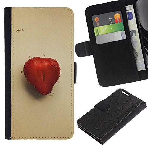 GIFT CHOICE / Smartphone Leather Wallet Case Housse coque Couvercle de protection Étui Couverture pour Apple Iphone 6 PLUS 5.5 // Juicu Fraise //