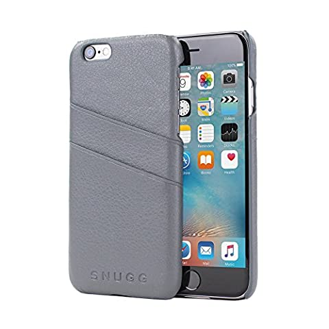 iPhone 6 Plus and 6S Plus Case, Snugg Grey Leather Ultra-Slim Case Cover [Dual Card (Owl Clip Di Carta)