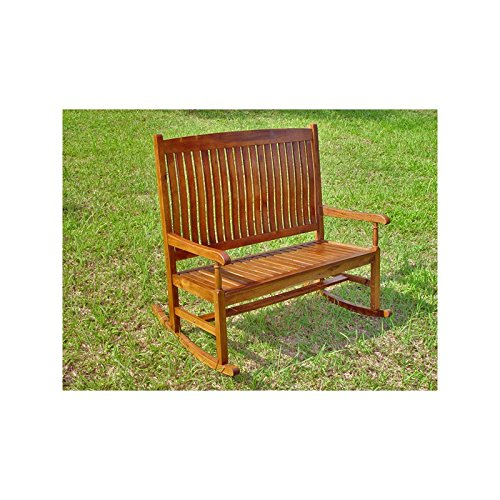 Discount International Caravan Highland Acacia Stained Double Porch Rocker Bench hot sale