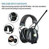 PROTEAR Noise Reduction Wireless Earmuffs with MP3/AM FM Digital Radio, NRR 25dB Professional Ear Hearing Protection Headphones with a Carrying Case, Electronic Ear Defenders for W