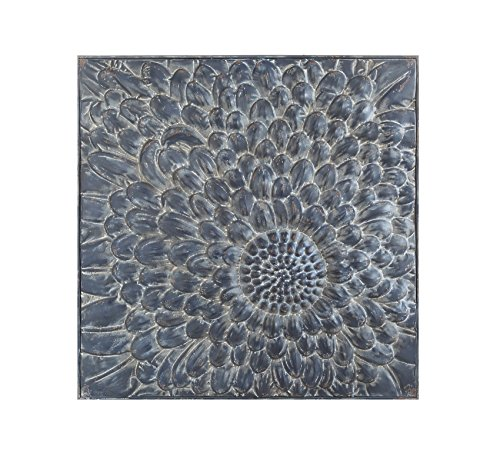 Creative Co-op Square Embossed Metal Wall Décor with Flower
