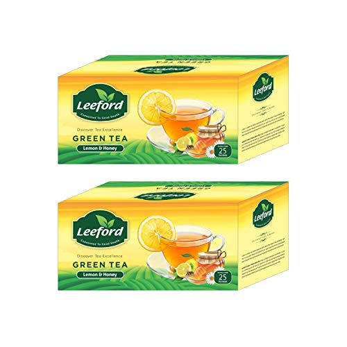 Leeford's Green Tea Lemon With Honey Refreshing Flavour (25 Bags Each) Pack of 2