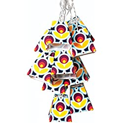 Allsop Home and Garden Soji Mod-Tulip Solar String Lights, Funky Style LED Outdoor Solar Lanterns, Handmade with Weather-Resistant UV Rated Fabric, for Decks, Gardens, Gazebos, Weddings, (Mod Tulip)