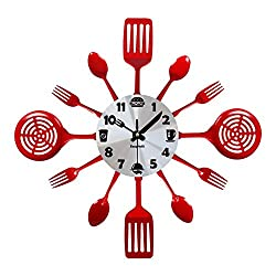 Easyhoki New Version Non-Ticking Large Kitchen Wall Clock (16 in), Beautiful Wall Decor Gift (Silver+Red)